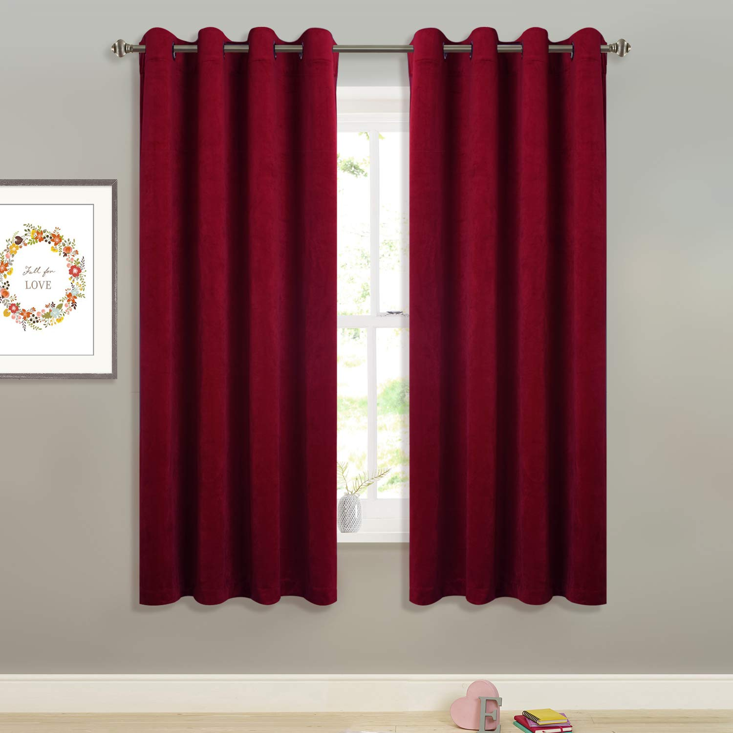 """StangH Red Velvet Curtains Short - Super Soft Thick Velvet Texture Drapes Room Darkening Window Treatment Set Privacy Panel Blinds, Wide 52"""" by Long 63"""", Double Panels"""