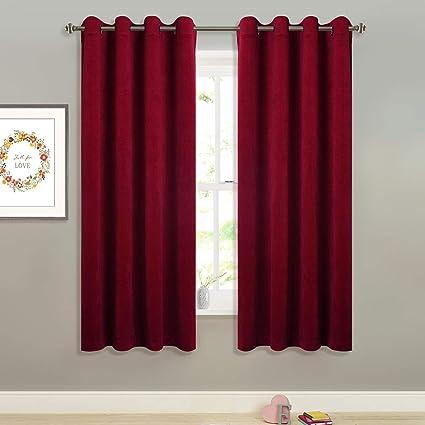 StangH Red Velvet Curtains Short Super Soft