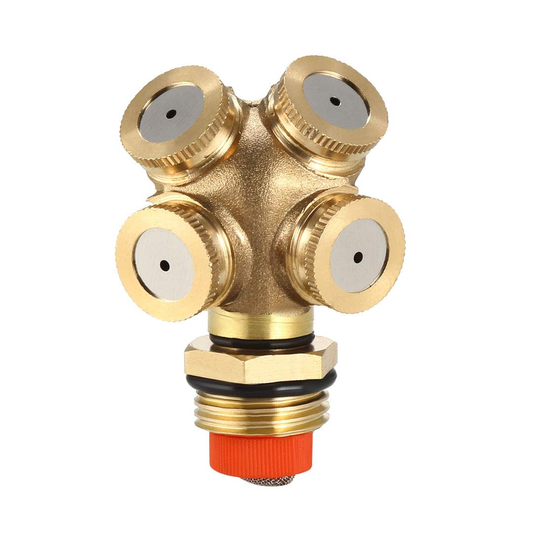 uxcell Misting Spray Nozzle, 1/2BSPF Brass 4 Holes Garden Sprinklers Irrigation Connector Fitting with Adapter and Filter Mesh