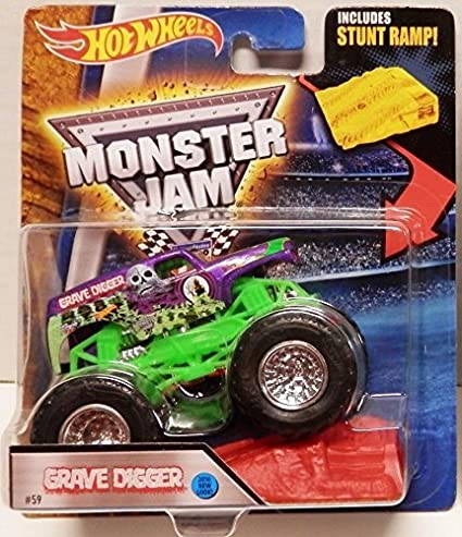 3e699c76ba51 Image Unavailable. Image not available for. Color  Hot Wheels Monster Jam  2016 Grave Digger (Includes Stunt Ramp) ...