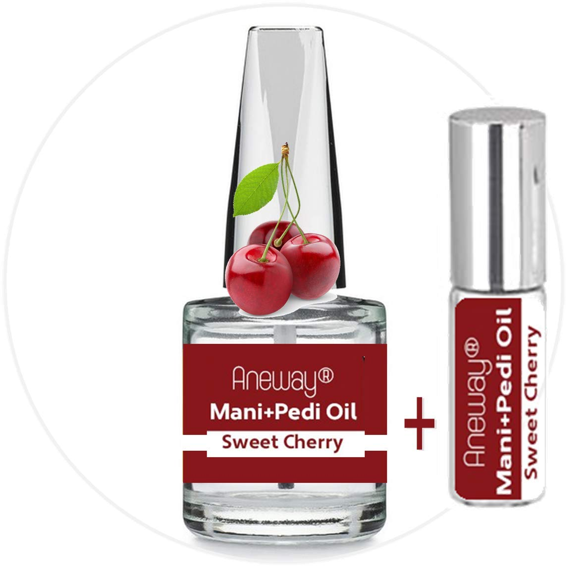 Mani+Pedi OIL - Sweet Cherry - Nourishing + Aromatic Manicure Pedicure Cuticle Oil for Hands, Nails and Feet! - BOTH 1/3 FL. OZ. (Brush-On) plus .2 FL. OZ. (Roll-On) Glass Bottles.
