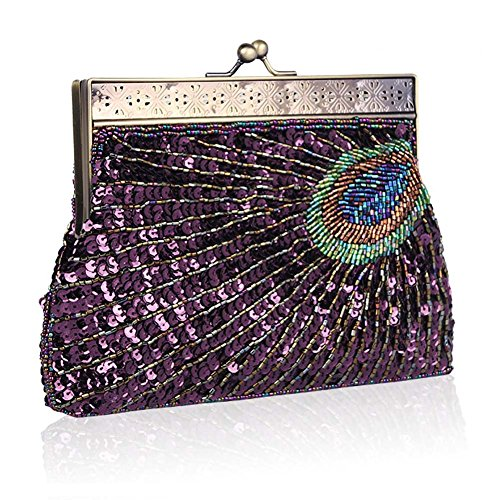 Sequin Bags Purple Handbag Women's Wedding Evening Purse Peacock CHUANGLI Sparkly Prom Beaded Party Clutch ZgT8qwtq
