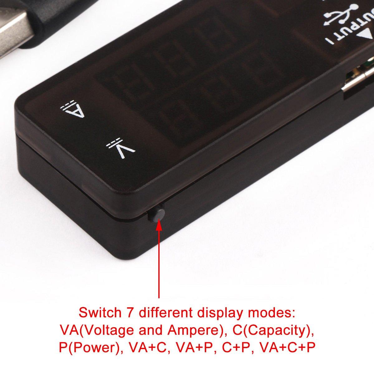 Drok Usb 20 Digital Multimeter Ammeter Voltmeter Capacitance And Led 5012 Psu Batt Chargers Electronic Components Watt Meter 7 Modes Multi Tester Tools Home Improvement
