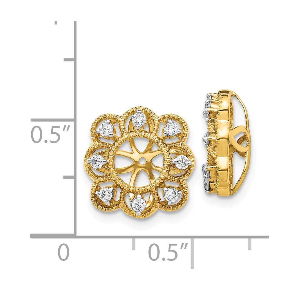 KIOKORI 14k Yellow Diamond Earring Jacket 1//4-Carat
