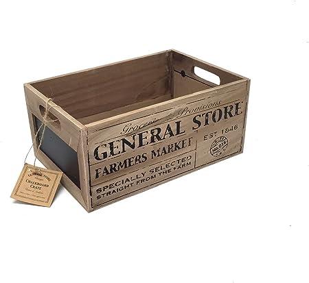 General Store rústico Vintage caja de almacenamiento de madera con pizarra. – pequeño: Amazon.es: Hogar