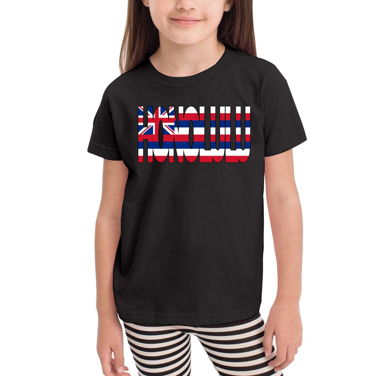 Vy91Lk-8 Short Sleeve Honolulu Hawaii Flag T-Shirts for Kids 2-6T Cute Tunic Shirt Dress