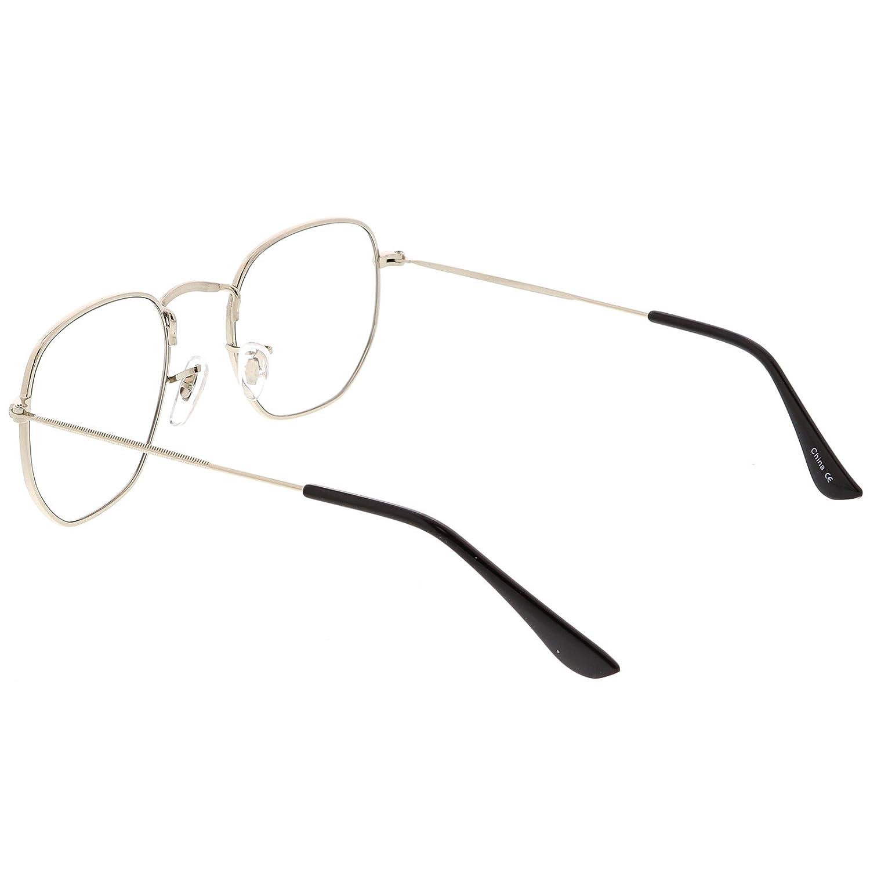 3b21e8f5d25 Amazon.com  sunglassLA - Modern Geometric Hexagonal Sunglasses Metal Slim  Arms Colored Tinted Flat Lens 51mm (Silver Clear)  Clothing