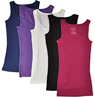 20fb81622b3731 12 Pieces Pack Women s Ribbed 100% Cotton Tank Tops-Assorted Color ...