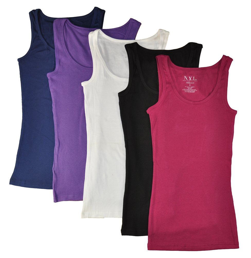 N.Y.L Women's 5 Pack Ribbed Cotton Tank Tops-Assorted Color, Small