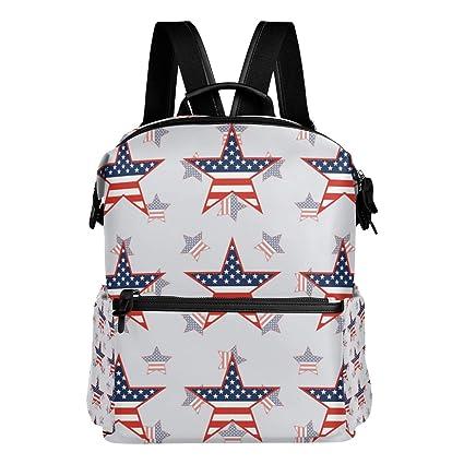 TIZORAX US Patriótico Estrellas Americanas Mochila Colegio Bolsas Bolsas de Días para Niños Niñas