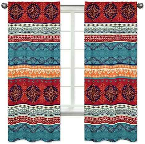 Boho Mandala Bohemian Chic Decorative Window Treatment Panels Curtains Drapes Covering set of 2 – 42×84 Colorful Hipster Indian Tapestry Turquoise Hippie Ethnic Vintage Patterned Teal Blue Red Orange