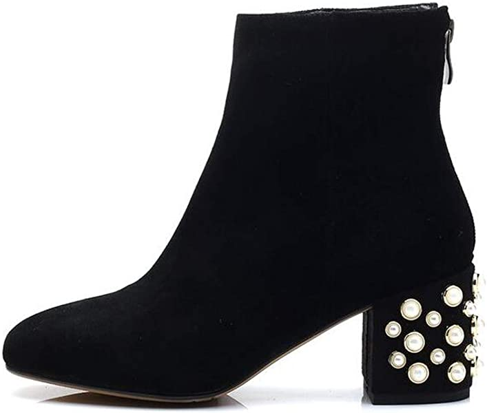 6b422ef5429 Meet- fashion Square Toe Women Boots Pearl Heel Ankle Boots Winter Thick  high Heel Boots