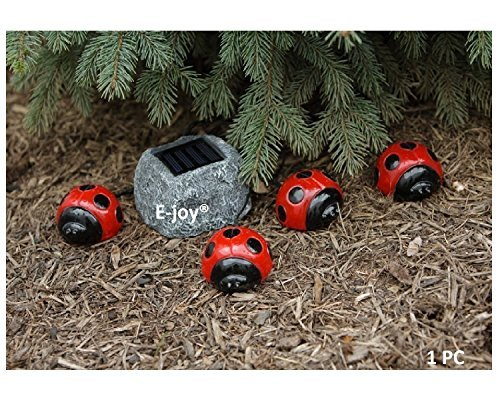 e-Joy Solar Ladybug Outdoor Garden String Lights, Solar Powered LED Garden Decorative Landscape Lights, Red Color by e-joy Solar Ladybug Lights
