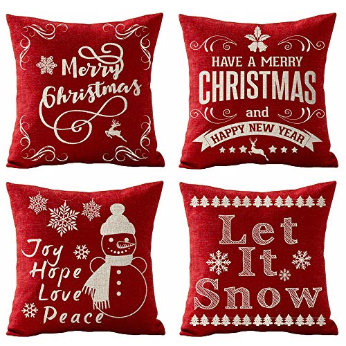 SOPARLLY Set of 4 Merry Christmas Joy Hope Love Peace Let It Snow Snowman Snowflake Elk Tree Pattern Pillows Cotton Linen Decorative Home Office Throw Pillow Case Couch Cushion Cover 18X18 inches (Love Peace Pillows)