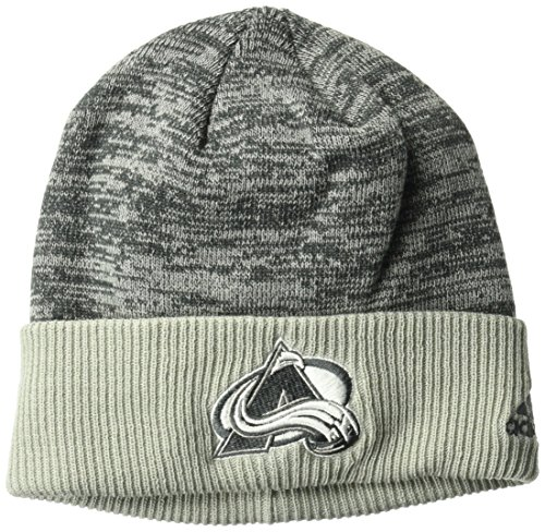 fan products of adidas NHL Colorado Avalanche Adult Men Pro Authentic Travel & Training Cuffed Beanie, One Size, Gray