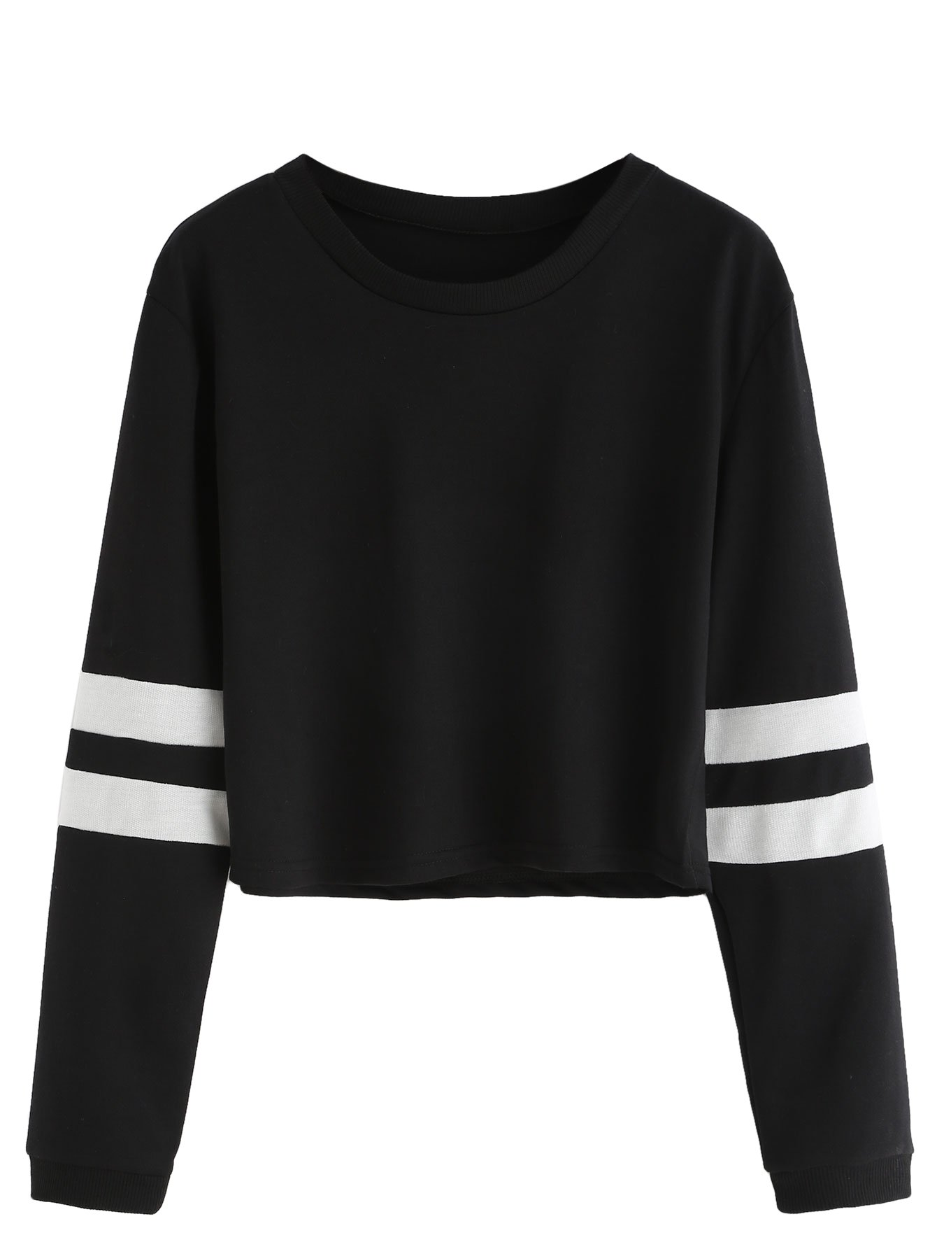 SweatyRocks Women's Striped Long Sleeve Crewneck Crop Top Sweatshirt Black M