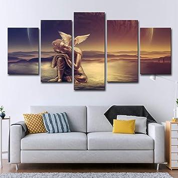 5 pièces Mur Art Contemporain Toile Peinture Bouddha Or Paix Colombe ...
