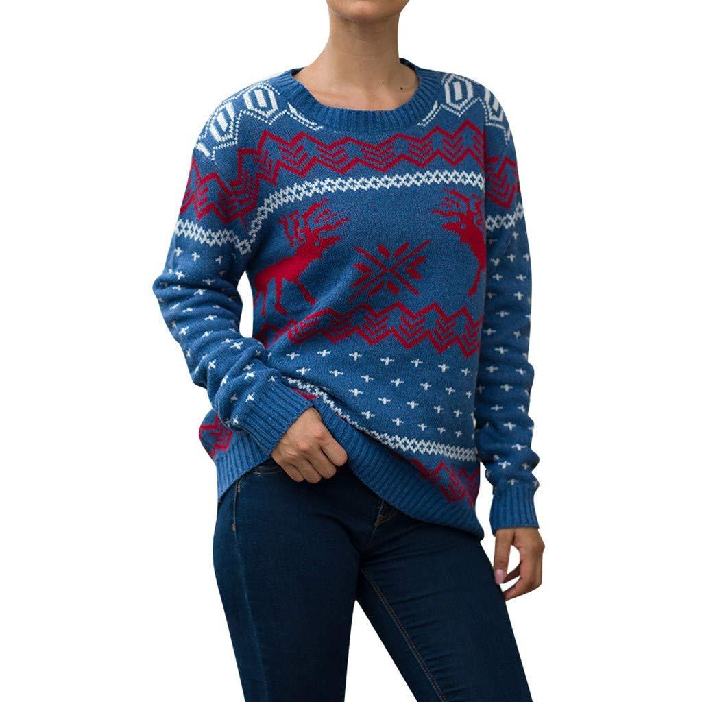 QIUUE Women Christmas Sweater Snowflake Elk Jacquard Sweater Long Sleeve O-Neck Christmas Tree Knitting Sweater Pullover Tops Blue by QIUUE