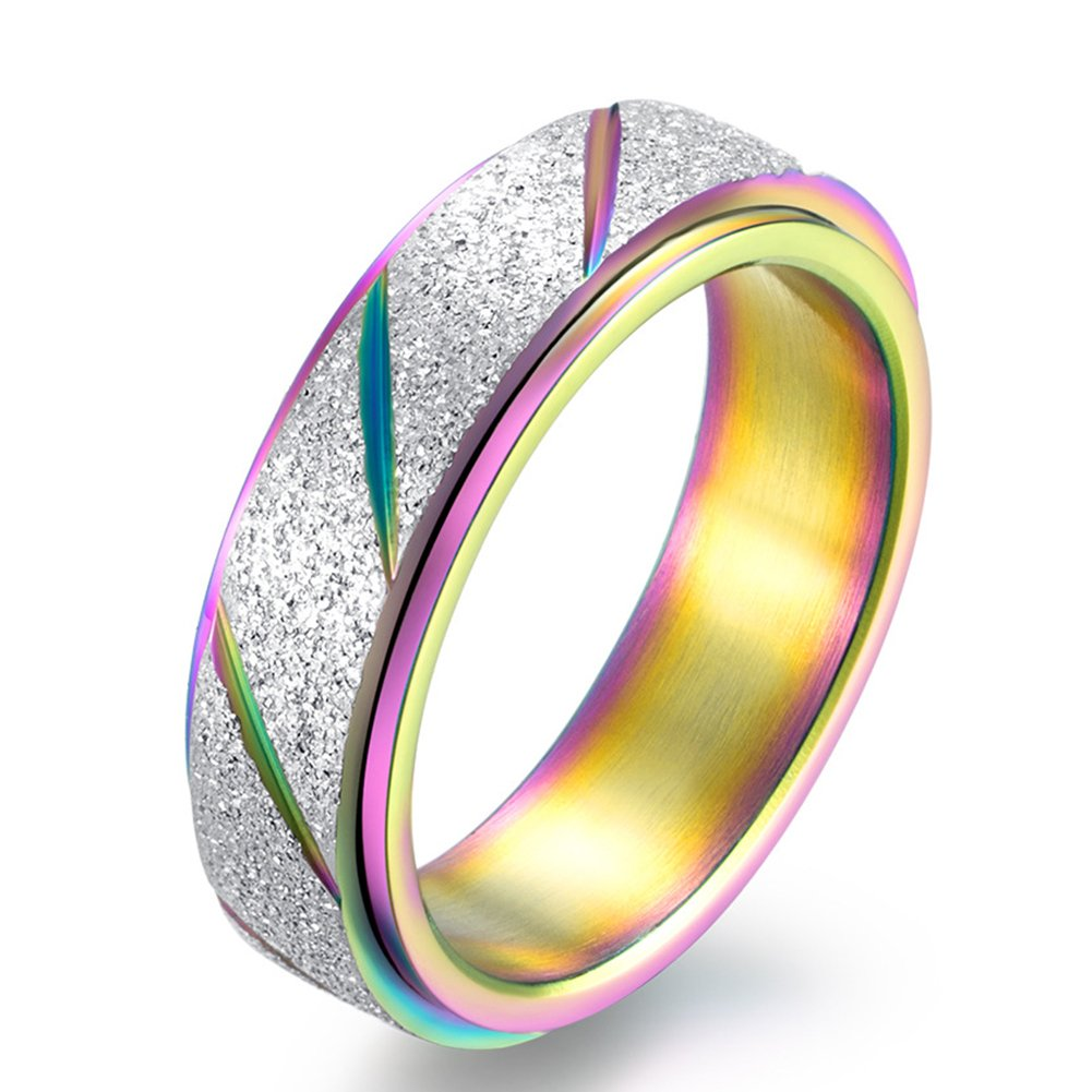 JAJAFOOK 6MM Titanium Steel Scrub Spins Rings, Fashion Spinner Ring Colorful Sand Blast Finish, Comfort Fit