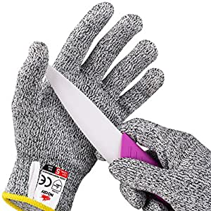 NoCry Cut Resistant Gloves for Kids (8 - 12 years old) - High Performance Level 5 Protection, Food Grade. Ebook Included