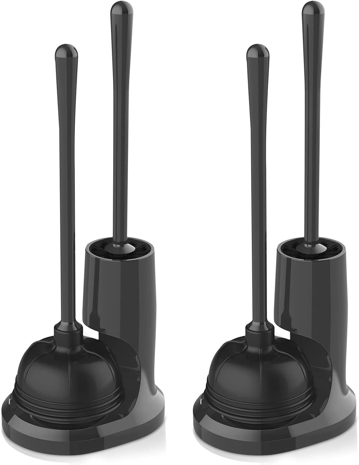 uptronic Toilet Plunger and Brush, Bowl Brush and Heavy Duty Toilet Plunger Set with Holder, 2-in-1 Bathroom Cleaning Combo with Modern Caddy Stand (Black, 2 Set): Home & Kitchen