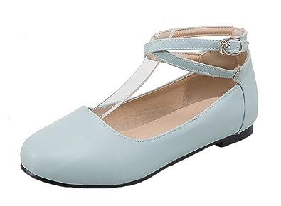 bdf0a0cd04985 AgooLar Damen Rund Zehe Ohne Absatz Blend-Materialien Rein Schnalle Pumps  Schuhe  Amazon.de  Schuhe   Handtaschen