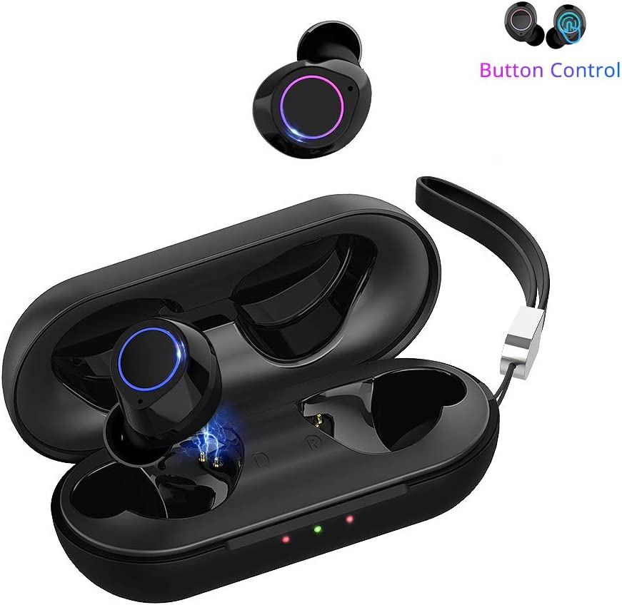 Amazon Com Wireless Earbuds With Mic Bluetooth 5 0 Ipx6 Waterproof Tws Stereo Headphones In Ear For Iphone Android With Charging Case Earphones Headset With Microphone For Sport Travel Gym Work Home Audio Theater
