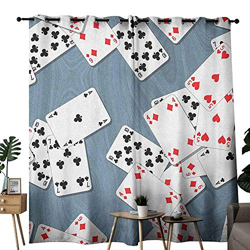 (duommhome Casino Privacy Curtain Abstract Background with Playing Cards Metropolitan Tourist Attractions for Living, Dining, Bedroom (Pair) W96 x L84 Slate Blue Red Black)