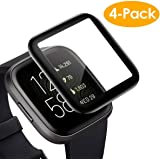 CAVN Screen Protector Compatible with Fitbit Versa 2, 4 Pcs Full Coverage Screen Protector Protective Cover Saver for Versa 2 Smartwatch, Waterproof/Scratch Resistant/Bubble Free
