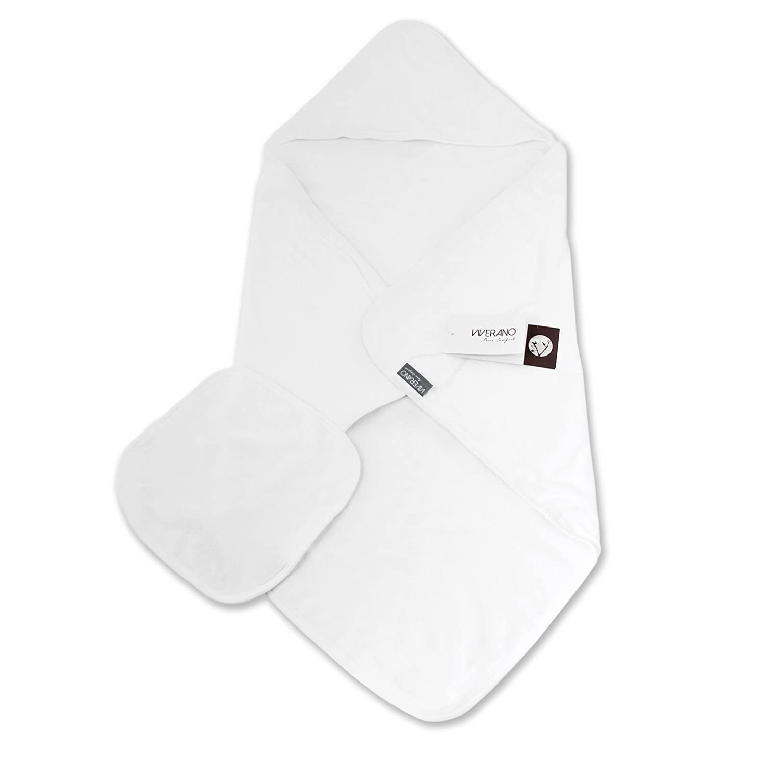 Viverano Viverano Organic Cotton Baby Hooded Towel Cotton and Washcloth Hooded Set - Pure White, 2 Ply by Viverano B00IZPB96Q, ジーンズ専門店Basis:e0ff7c84 --- ijpba.info