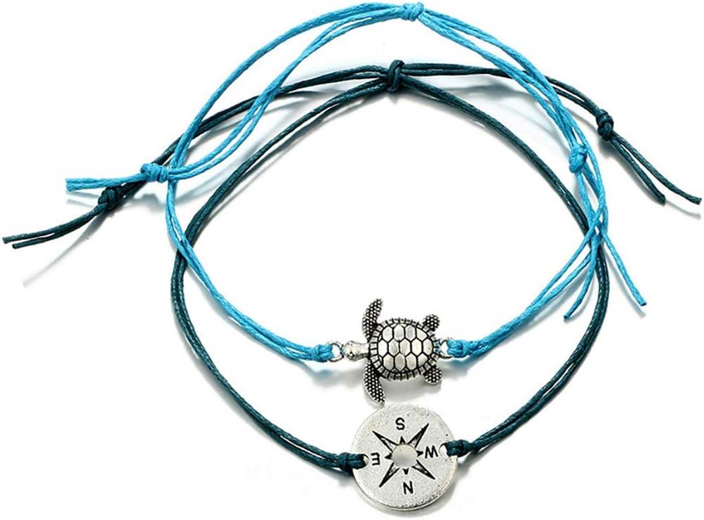Bohend Boho Bracelet Noir Tortue Pi/èce R/églable Multicouches Chevilles Bracelets Plage Cha/înes de pieds Accessoires de bijoux Pour Femmes Et Filles