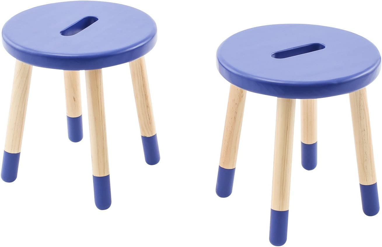 B01M9FU67M Max & Lily Natural Wood Kid and Toddler Stool, Blue, Set of 2 61dutOQKDQL