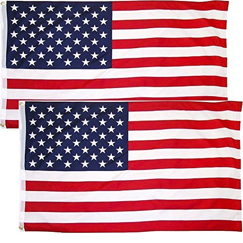 LSIKA-Z American Flag 3x5 Foot, USA Flag with 2 Brass Grommets Bright Color UV Fade Resistant and Canvas Header [2 Pack] (USA-02)