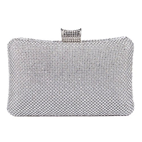 BAIGIO Sparkle Rhinestone Evening Clutch Purse Elegant Diamante Evening Bag Party Wedding Purses Handbag for Women (Silver)