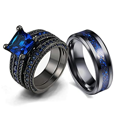 b7491e927d Amazon.com: LOVERSRING Couple Ring Bridal Set His Hers Black Gold Plated  Blue CZ Stainless Steel Wedding Ring Band: Jewelry