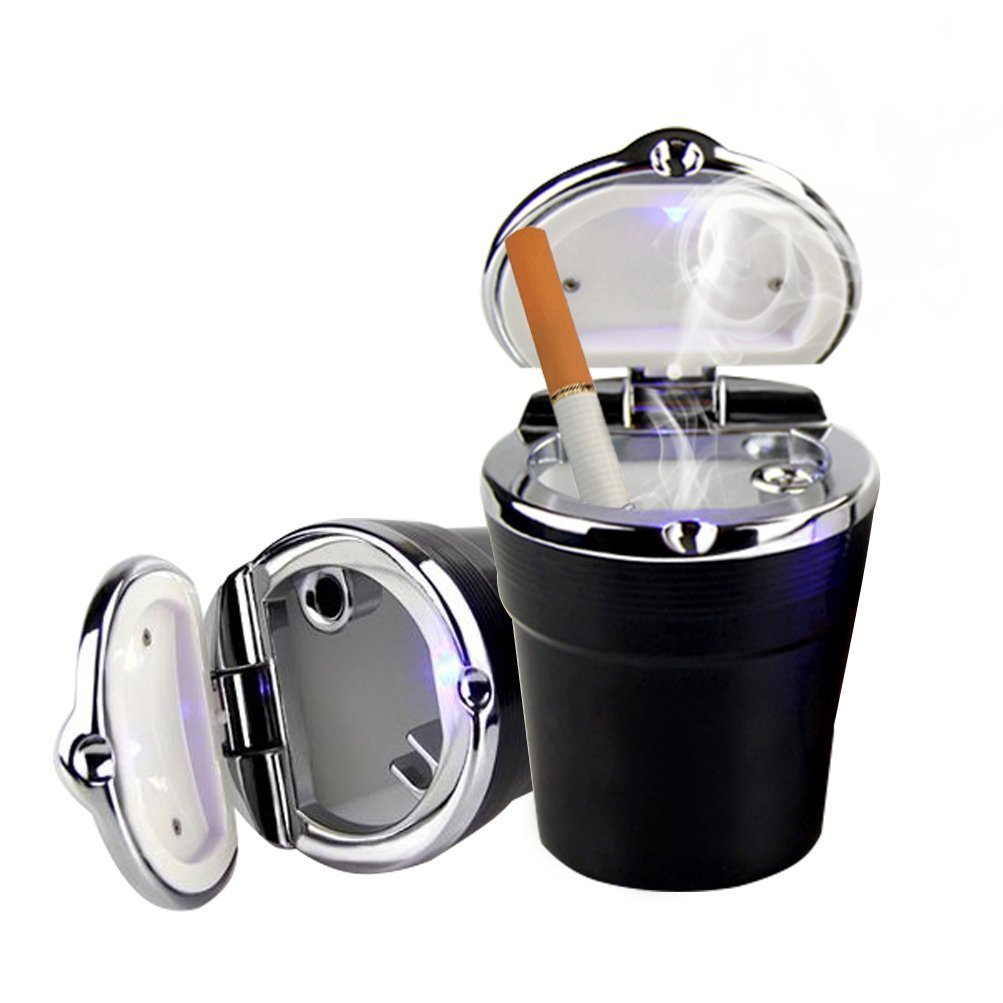 Romote Auto-Aschenbecher Deckel - Tragbare Auto Auto Aschenbecher mit LED-Licht, rauchfreien Hause/Bü ro / Reiseaschenbecher (schwarz). Medium Schwarz