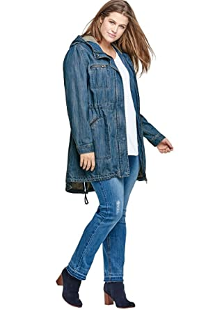 7bb0df32f3b Ellos Women s Plus Size Hooded Anorak Denim Jacket at Amazon Women s Coats  Shop