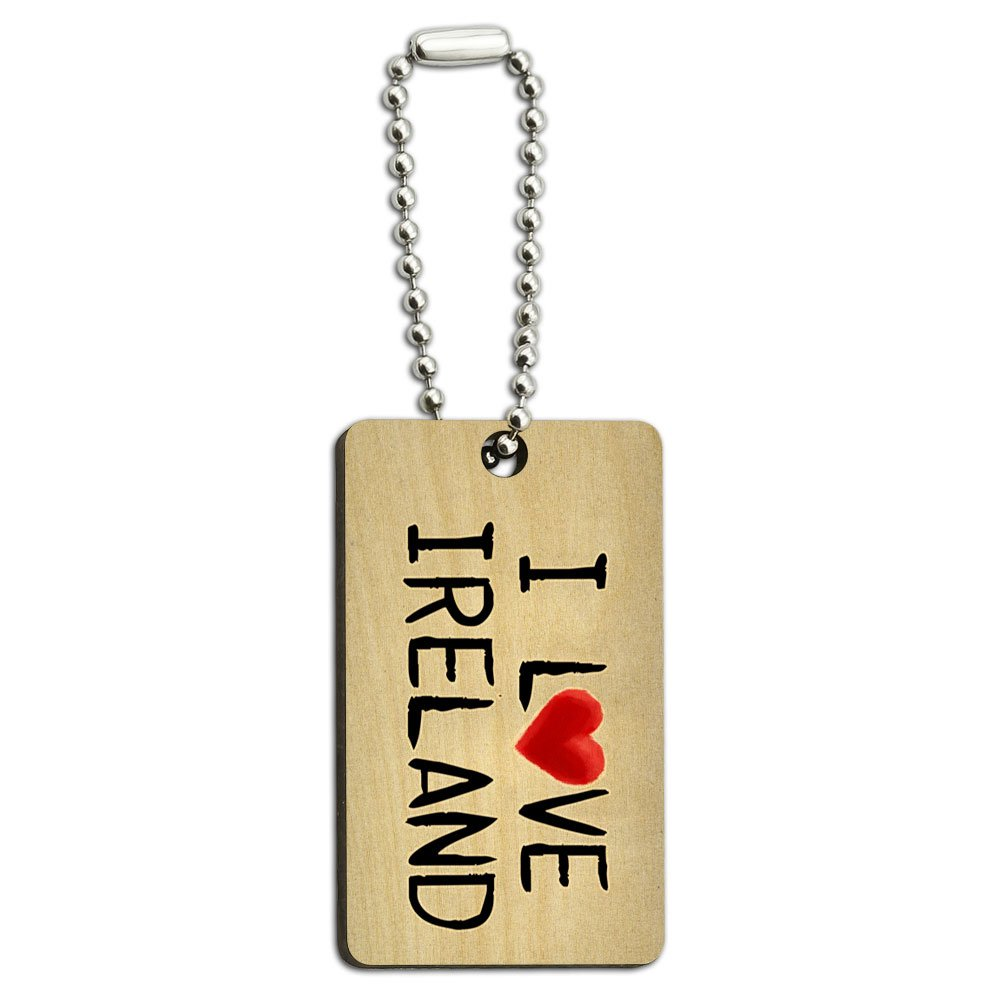 I Love Ireland Written on Paper Wood Wooden Rectangle Key Chain