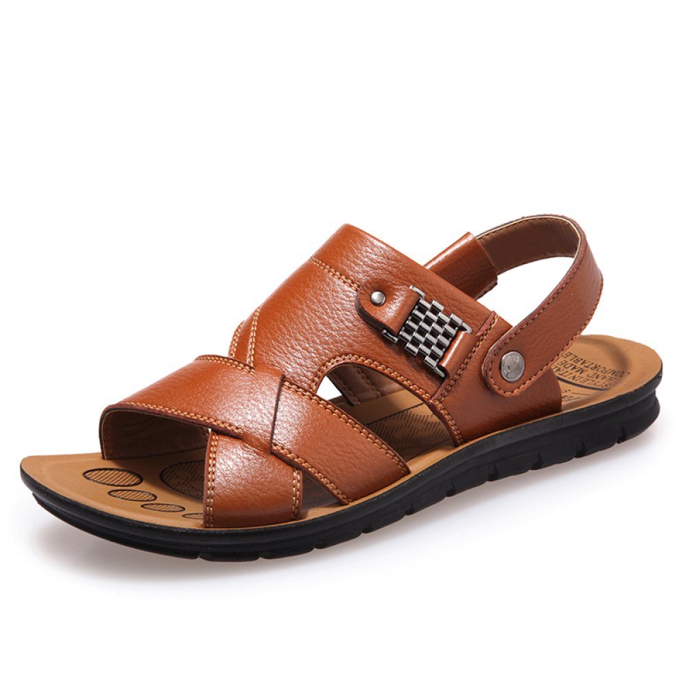 Sandalias De Playa Para Hombre Verano PU Piscina Classic Transpirable Peep Toe Zapatillas Antideslizantes Ocasionales Zapatos Khaki