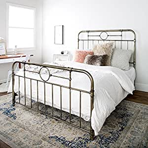 new queen size metal pipe bed frame with headboard and footboard kitchen dining. Black Bedroom Furniture Sets. Home Design Ideas