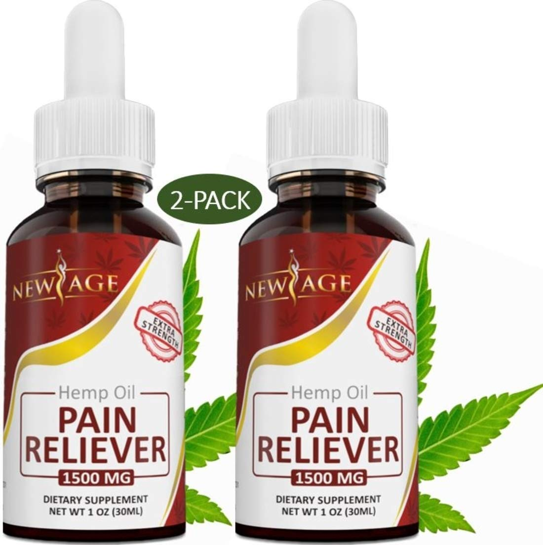 2 Pack Hemp Oil Pain Reliever, 1500mg of Organic Hemp, Pain Relief, Extra Strength, Grown & Made in The USA by New Age by New Age
