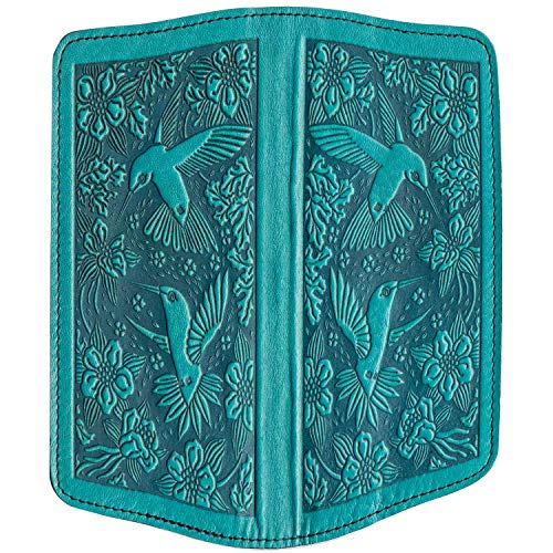 - Oberon Design Hummingbirds Embossed Genuine Leather Checkbook Cover, 3.5x6.5 Inches, Teal