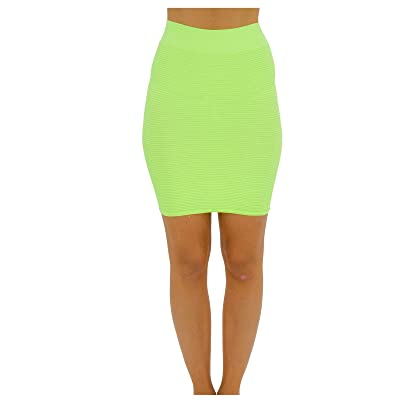 TD Collections Bandage Bodycon Mini Knit Basic Stretch Short Pencil Skirt Thin LINE Skirt (One Size, Neon Green) at Women's Clothing store
