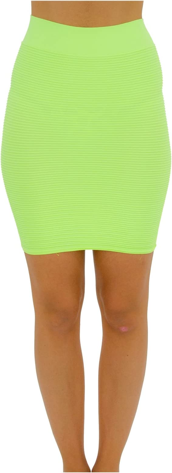 TD Collections Bandage Bodycon Mini Knit Basic Stretch Short Pencil Skirt Thin Line Skirt Neon Yellow