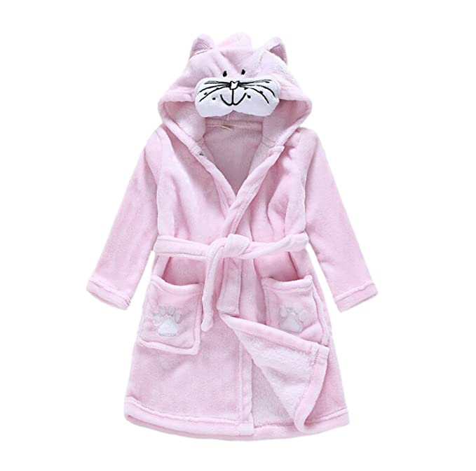 CuteOn Kids Boys Girls Flannel Bathrobe Children s Pajamas Dressing Gown  Cat 100cm - Small f3d79d1ec