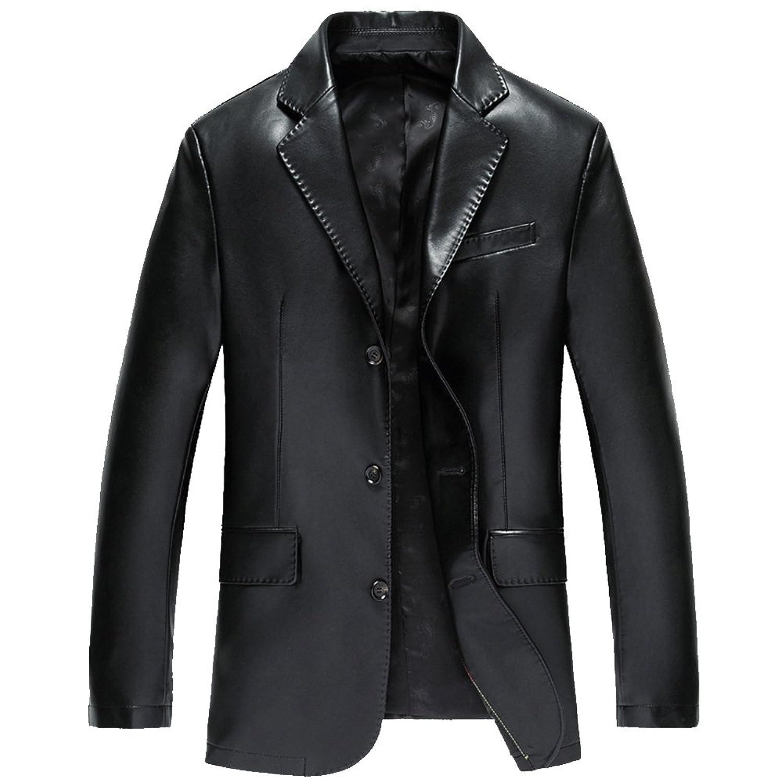 Men's Leather Blazer Motorcycle Jackets Lapel Business Coat Outwear Handsome