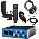Rode NT1 Condenser Microphone Kit with Presonus 2x2 USB 2.0/96kHz Audio Interface, Studio Headphones and XLR Cable