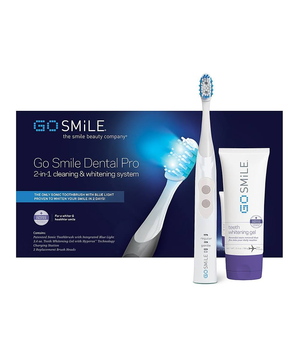 GO SMILE Dental Pro Teeth Whitening Kit (White), Sonic Blue Lightwave Technology, 2-in-1 Dentist Recommended Professional Whitening System, Sonic Smart Brush (1.3 lbs.), Hyperox Whitening Gel (3.4oz)