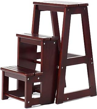 COSTWY Escalera Silla de Madera Plegable Multifunción Escalera Banqueta Taburete Estantería Escalón para Baño Hogar Decoración (Marrón oscuro): Amazon.es: Bricolaje y herramientas