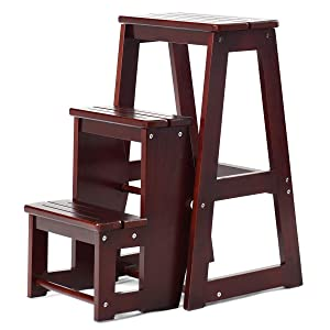 Costzon Folding Step Stool 3 Tier Wood Ladder, 3-in-1 Design with Ladder, Stool and Storage Shelf, Multifunction Pine Wood Foldable Ladder for Home, Library, 300kg Capacity (Dark nut-Brown)
